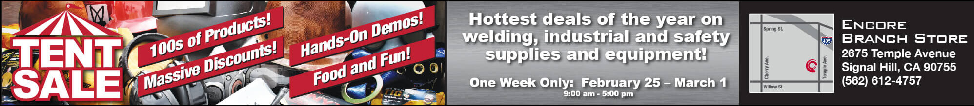 Encore Tent Sale! Hottest Deals of the Year on Welding, Industrial and Safety Supplies and Equipment!